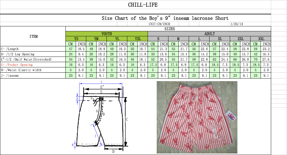 BOYS GAME SHORTS SIZE CHART