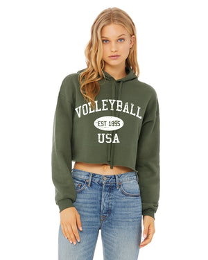 Cropped Volleyball Hoodie Vintage USA