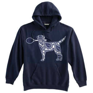 Dog with Tennis Racquet Heavyweight Hoodie