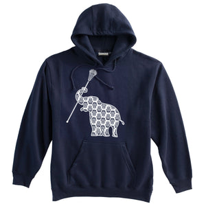 Elephant with Lacrosse Stick Lacrosse  Heavyweight Hoodie