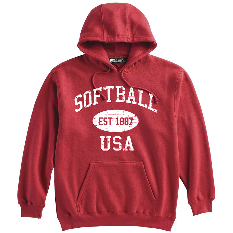 Softball Sweatshirt-Vintage Distressed Established Date USA