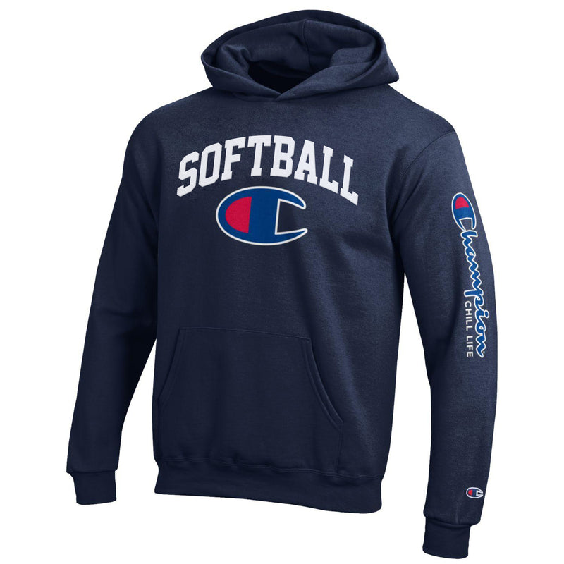 CHILL-LIFE and CHAMPION SOFTBALL HOODIE-NAVY