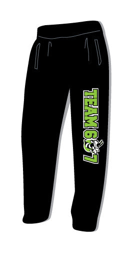 Black Team 607 Sweats-Open Bottom & pockets