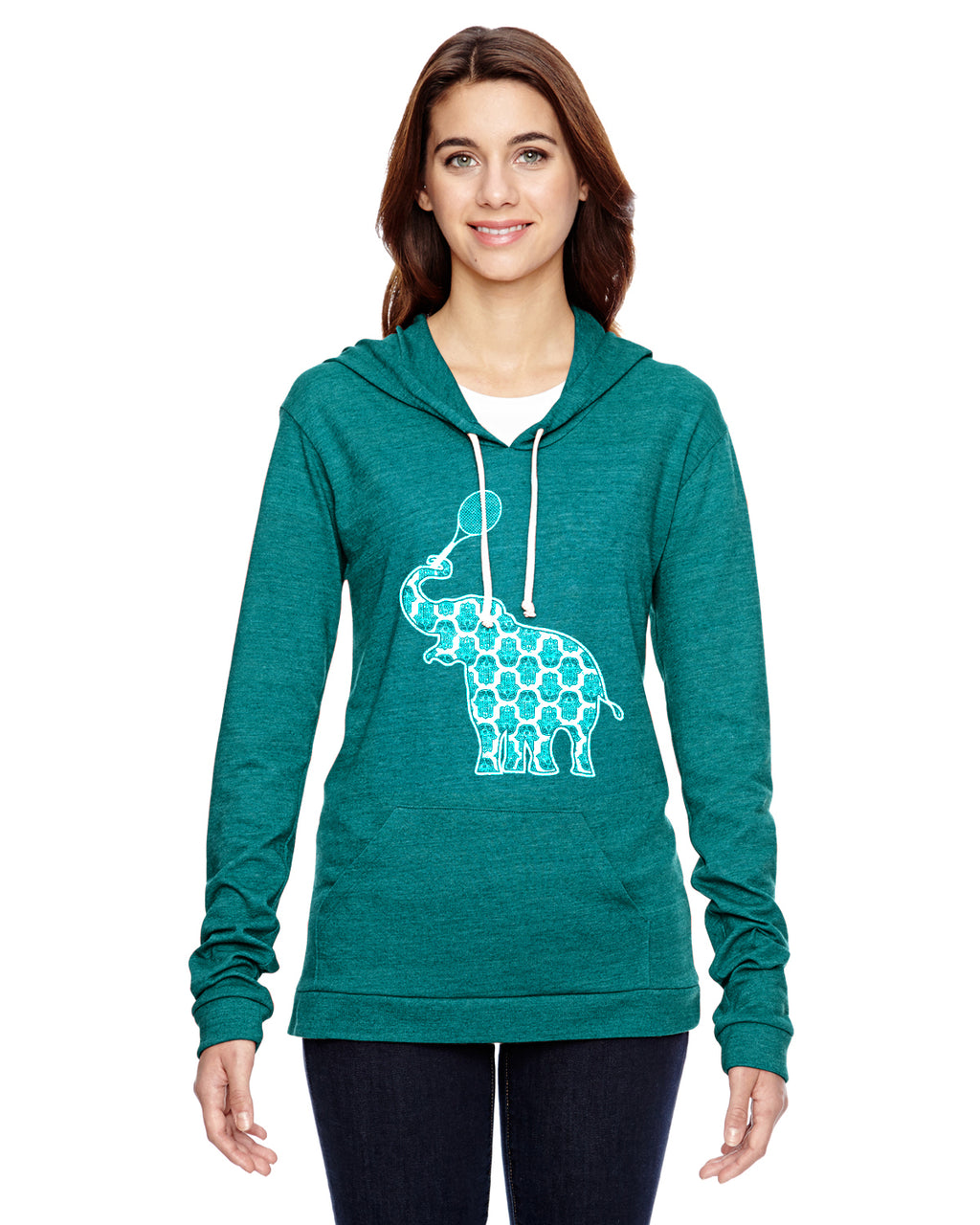 Elephant with Tennis Racquet Tennis Eco Jersey Pullover Hoodie Animal Sports Collection