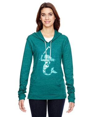 Mermaid with Field Hockey Stick Field Hockey Eco Jersey Pullover Hoodie Animal Sports Collection