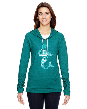 Mermaid with Tennis Racquet Tennis Eco Jersey Pullover Hoodie Animal Sports Collection