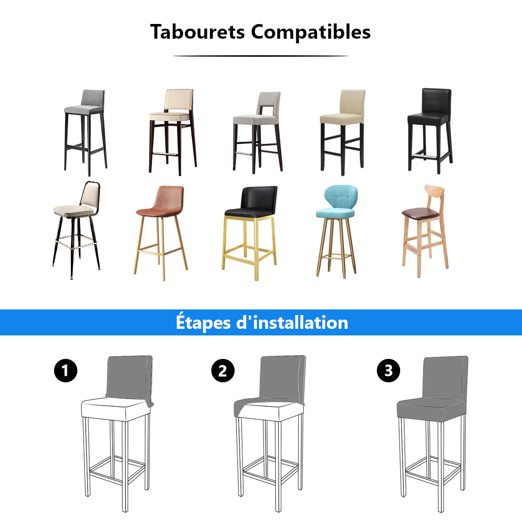 installation housse de tabouret de bar