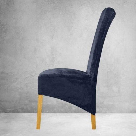 Housse de Chaise Velours<br> Bleu Marine (Large)