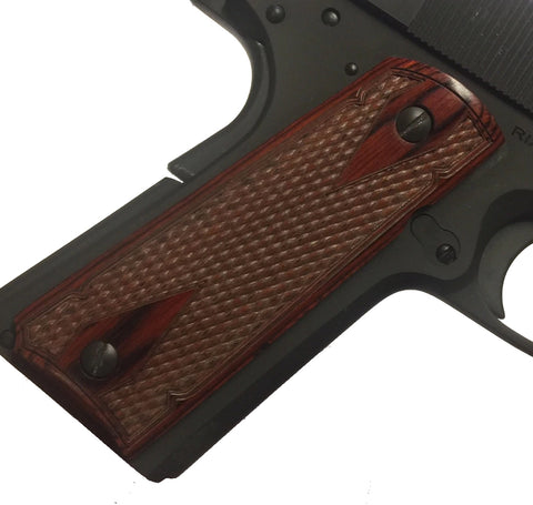 1911 Colt Full Size Double Diamond Checkered Rosewood Grips