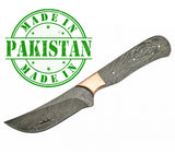 "Economy - 8.75"" Cape Town Skinner - Trailing Point FULL TANG DAMASCUS BLADE BLANK w/Copper Bolster"