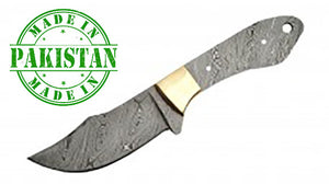"Economy - 8"" Up Swept Full Tang Damascus Blade Blank w/Brass Bolster Twist Pattern - WoodWorld of Texas"
