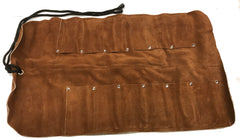 "12 Pocket Lrg Leather Tool Roll - 10"" x 21"" with 4""x2 3/8"" pockets"