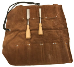 "7 Pocket Extra Large Leather Tool Roll - 18"" x 18"" with 4""x3"" pockets"