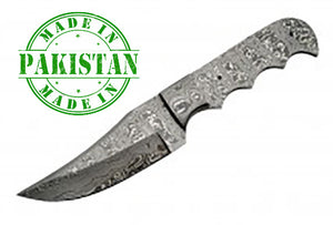 "Economy - 8.75"" Bowie FULL TANG DAMASCUS BLADE BLANK w/Bolster - WoodWorld of Texas"
