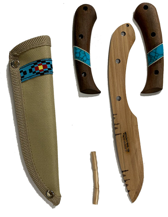* Blue River Wooden Knife Kit - Fixed Blade with Sheath