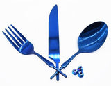 S.S Flatware Set with Magic Blue TN plating. - WoodWorld of Texas