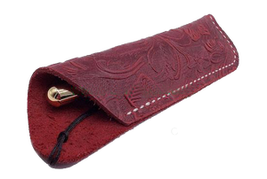 Texas Style Pen Sleeve - Handmade Leather Tooled Design - Dark Red