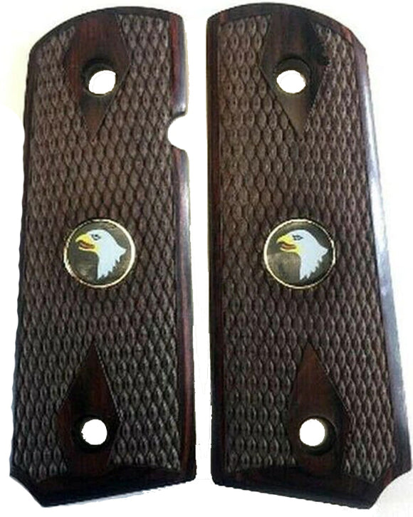 1911 Officer Double Diamond Checkered Rosewood w/Screaming Eagle Medallions Grips