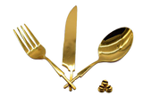 S.S Flatware Set with Gold TN plating. - WoodWorld of Texas