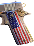 1911 Full Size Grips Rustic Old Glory UV printed over laminate Diamond Wood