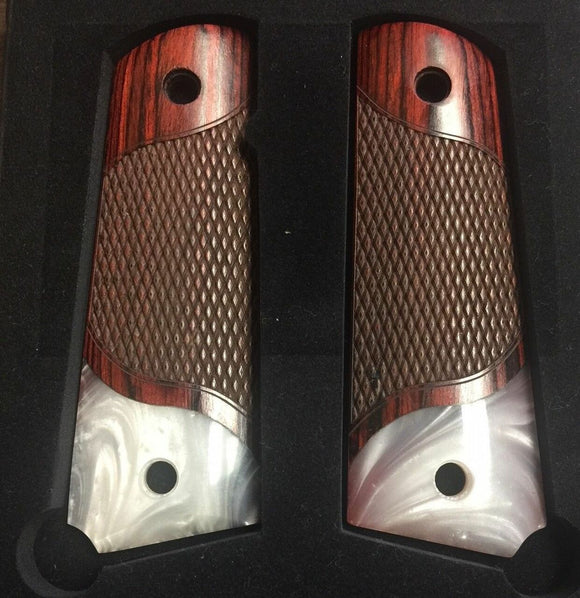 1911 Colt Full Size Double Diamond Checkered Rosewood Grips with Acrylic Pearl Accent