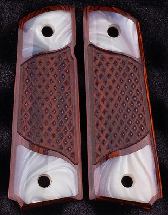 1911 Full Size Double Diamond Checkered Rosewood Grips with two Acrylic Pearl Accents