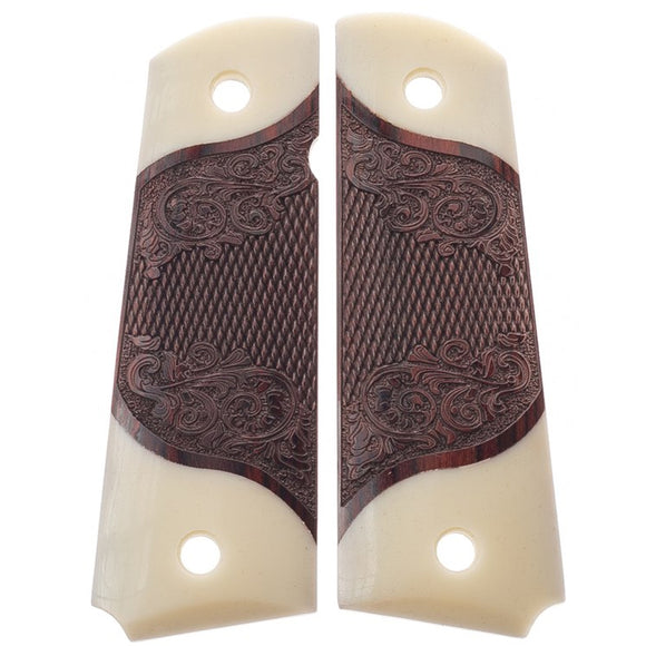 1911 Full Size Double Diamond Checkered Rosewood Grips with two Acrylic Ivory Accents