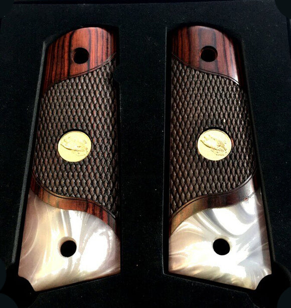 1911 Full Size Checkered & Engraved Rosewood Grips with Acrylic Pearl Accents - 1x Gold Eagle Logo
