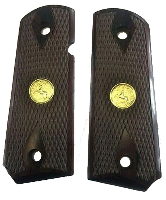 1911 Officer Double Diamond Checkered Rosewood w/Gold Colt Medallions Grips