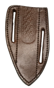 "Knife Sheath Leather - SH660801 - BROWN SADDLE BELT SHEATH 1.25"" Wide Opening 5.5""Blade Cover"