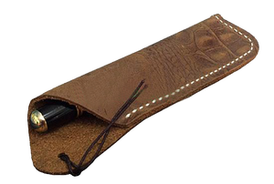 Texas Style Pen Sleeve - Handmade Leather - Dark Brown alligator grain pattern