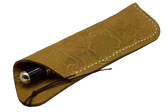 Texas Style Pen Sleeve - Handmade Leather Tooled Design -Dark Yellow