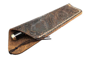 Texas Style Pen Sleeve - Handmade Leather Tooled Design - Light Coffee