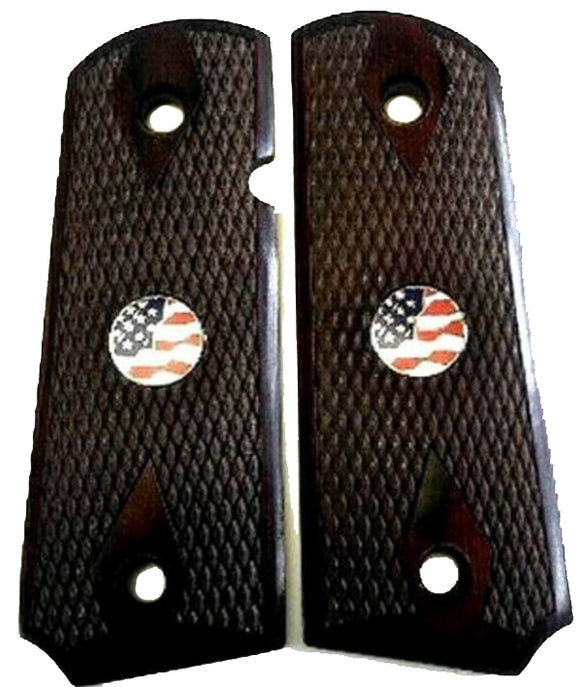 1911 Officer Double Diamond Checkered Rosewood w/US Flag Medallions Grips
