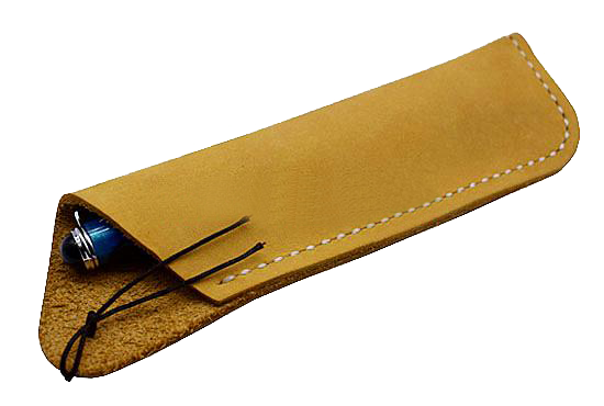 Texas Style Pen Sleeve - Handmade Leather - Light Yellow
