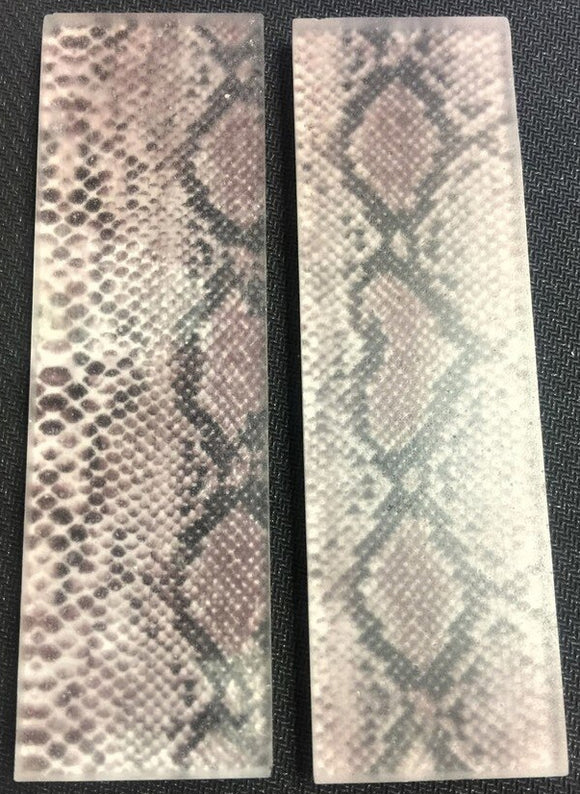 Knife Scales - Acrylic & Real Python Snake Skin Scales (pair)  5
