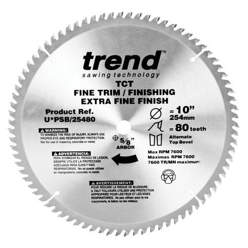 Trend PRO SAW BLADE 10 X 80T X 5/8 THIN Finish
