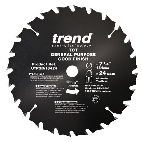 Trend PRO SAW BLADE 7 1/4 X 24T X 5/8THIN Non Stick PTFE Coated