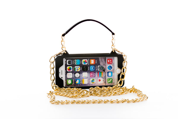 Black with Gold Hardware iPhone 6 Plus / 6s Plus Crossbody Bundle Collection