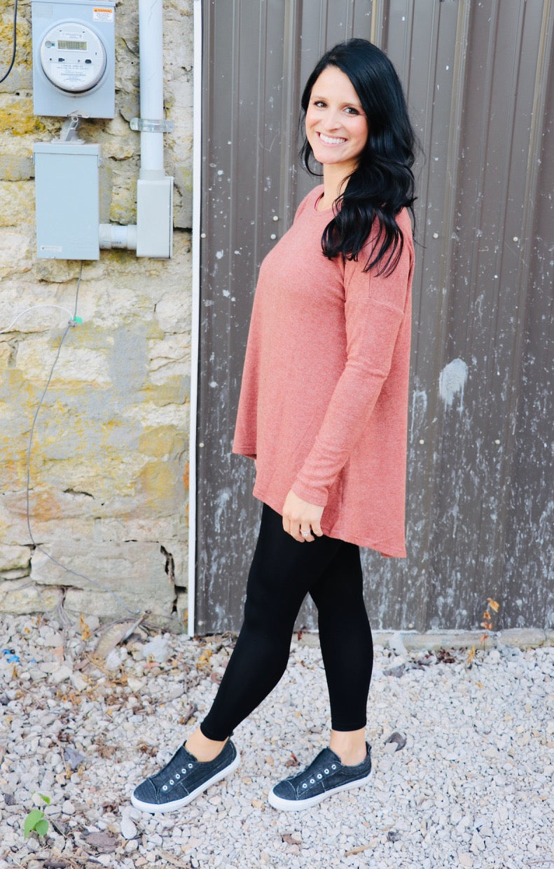 Mauve High Low Sweater