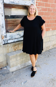 Black Linen Dress (Extended Size)
