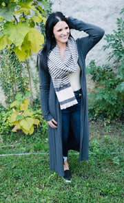 Basic Long Cardigan- Charcoal