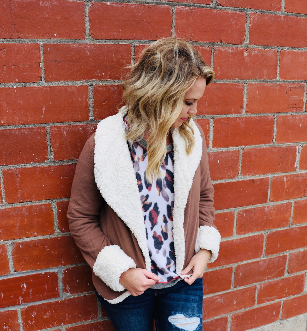 Keep It Cozy Jacket-Taupe