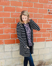 Load image into Gallery viewer, Striped Cardigan-Black