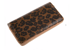 Single Zipper Wallet-Leopard Brown
