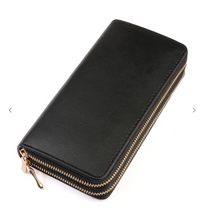 Load image into Gallery viewer, Double Zipper Clutch/Wallet- Black