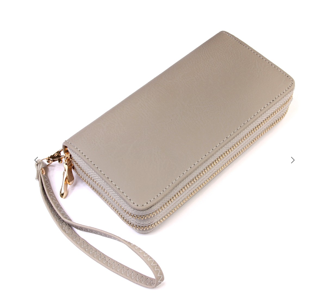 Double Zipper Clutch/Wallet-Grey