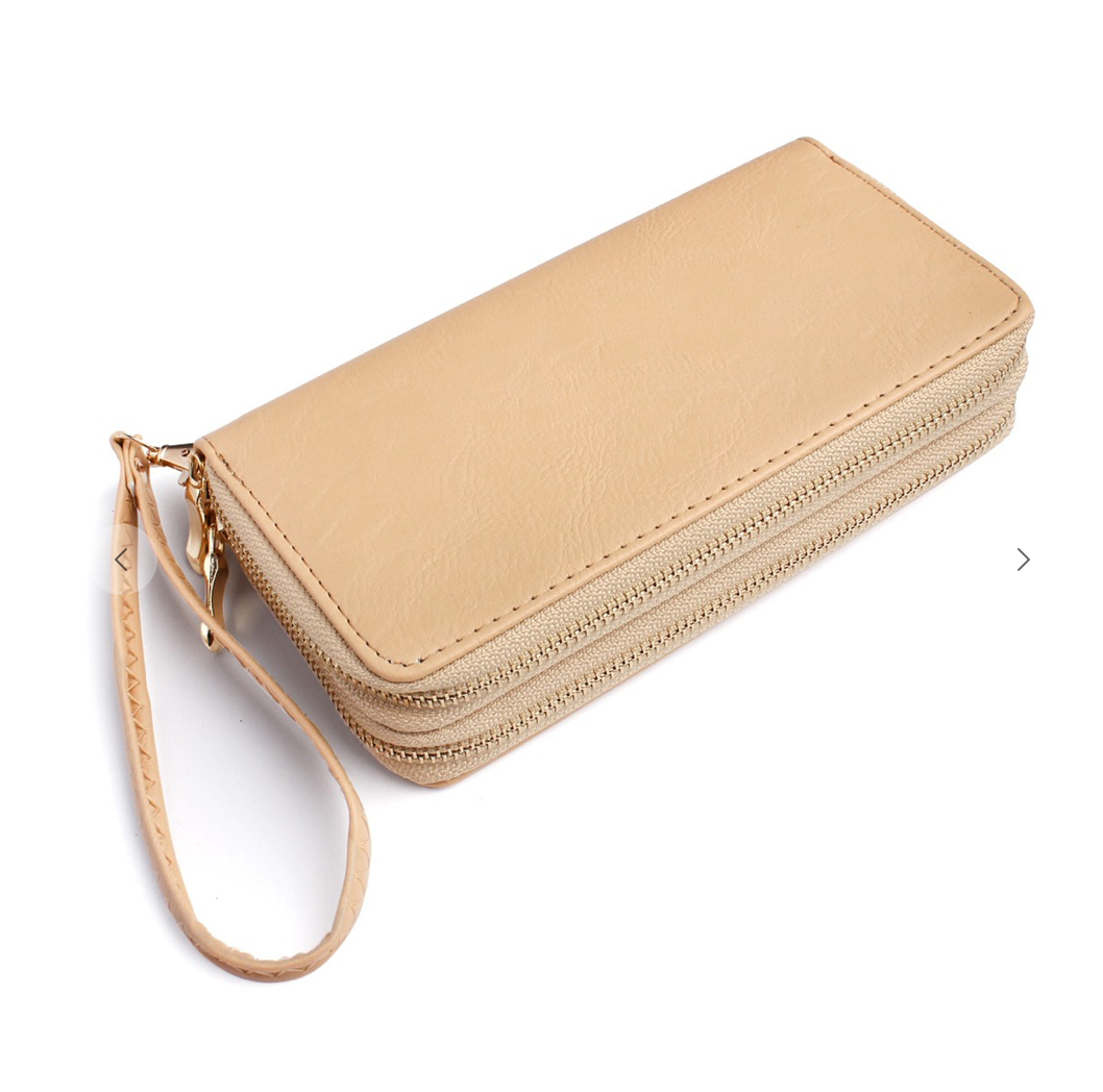 Double Zipper Wallet- Natural