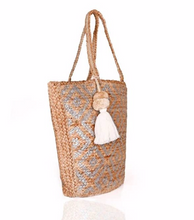 Load image into Gallery viewer, Silver Aztec Jute Tote