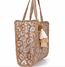 Load image into Gallery viewer, Handwoven Jute Tote-Silver